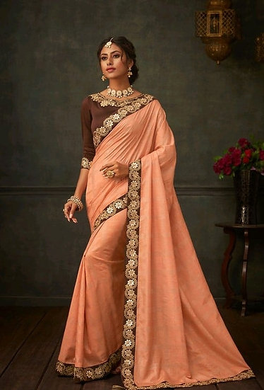 Comely Embroidered & Heavy Work Georgette Saree - Peach