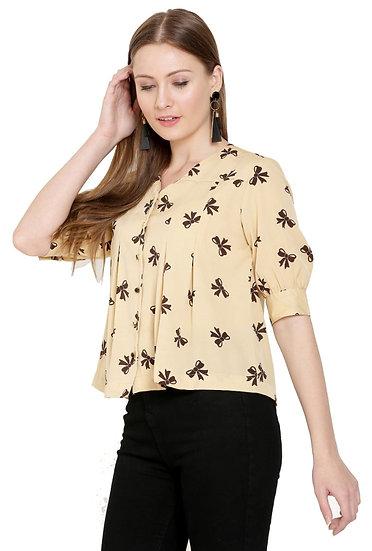 GALAXY TRENDZ Premium American Crepe Pleated Top Cum Shirt - Beige…