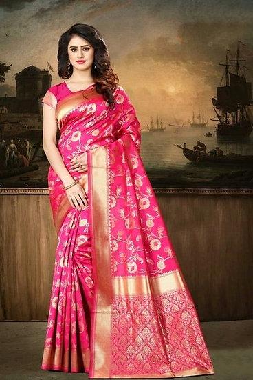 Wondrous Banarasi Silk Printed Saree - Pink