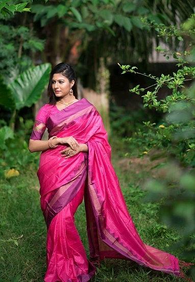 Wondrous Women's Soft Raw Silk Saree - Pink