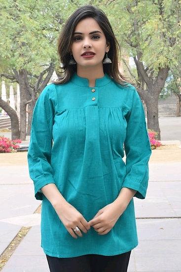 Exquisite Designer Cotton Top -Green