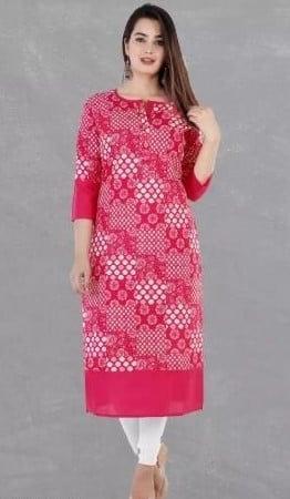 Gracious Printed Cotton Straight Kurta - Pink