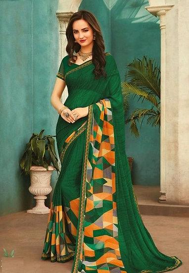 Sumptuous Premium Print Chiffon Saree - Green