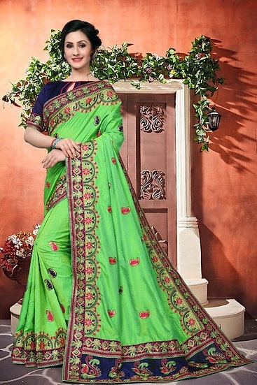 Comely Premium Embroidered Heavy Lace Silk Saree - Green