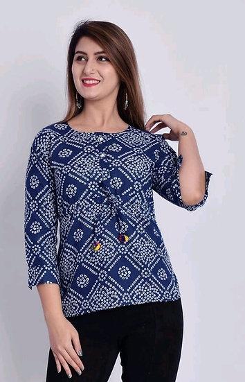 Wondrous Printed Cotton Top - Blue