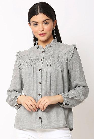 GALAXY TRENDZ Premium Cotton White Pearl Beaded Designer Shirt - Grey