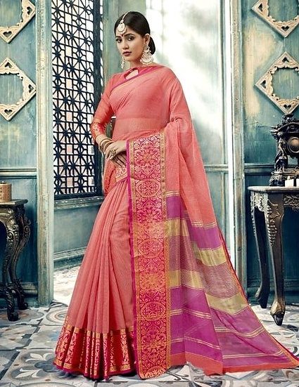 Comely Premium Vallabhi Print Cotton Silk Saree - Light Pink