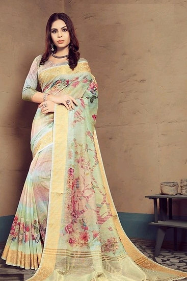 Flamboyant Multicolor Print Linen Saree - Green Patt 3