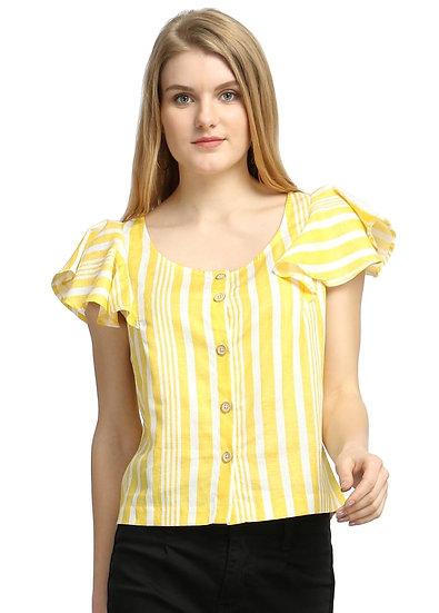 GALAXY TRENDZ Premium Stripe Pattern Crop Trop - Yellow & White