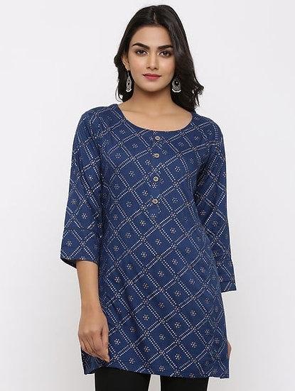 Beauteous Printed Rayon Tunic - Blue