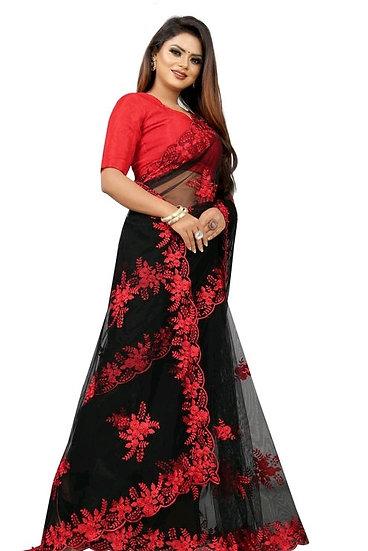 Beauteous Embroidered Premium Net Saree - Black