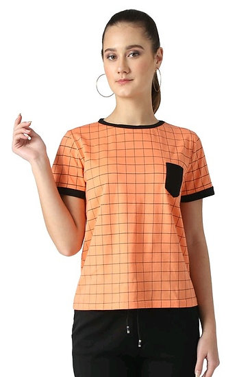 Flamboyant Block Print Cotton T-shirt - Orange