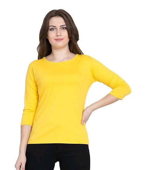Ravishing Pure Cotton Solid T-shirt - Yellow