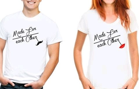"Comely Couple Tshirts ""Made For Each Other"" - White"