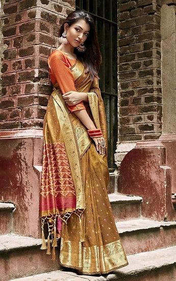 Wondrous Chanderi Silk Party Jacquard Saree - Brown