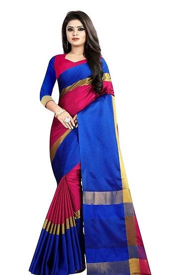 Exquisite Zari Work Cotton Silk Saree - Blue