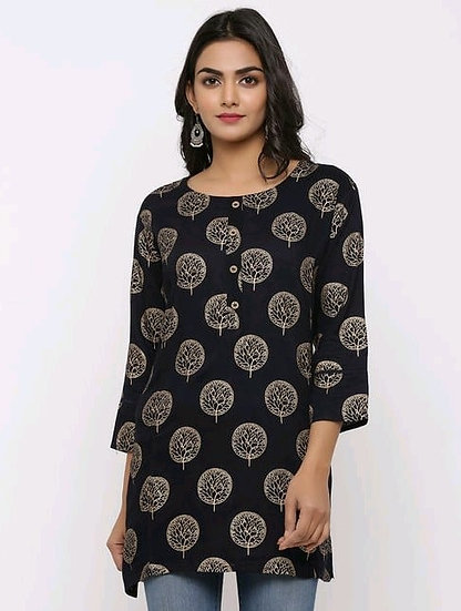 Beauteous Printed Rayon Tunic - Woodsmoke Black