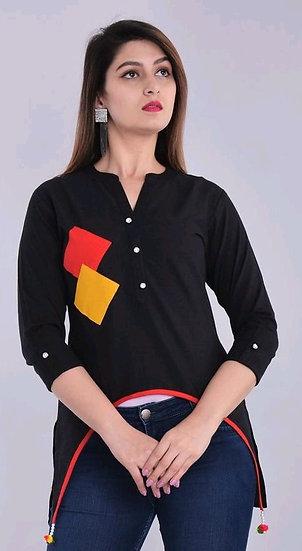 Wondrous Designer Cotton Top - Black