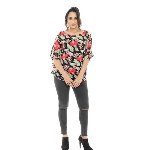 Dazzling Premium Floral Print Georgette Tunic - Black