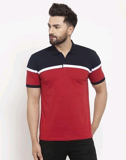 Dazzling Men's Collar Tshirts - Blue & Red