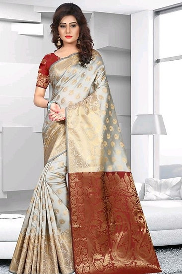 Comely Premium Zari Work Banarasi Silk Saree - Pattern 3