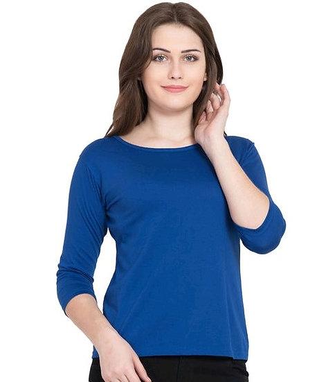 Ravishing Pure Cotton Solid T-shirt - Congress Blue