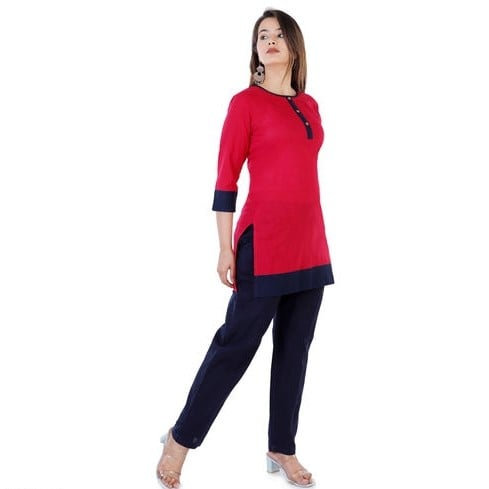 Wondrous Pure Cotton Short Kurti - Red