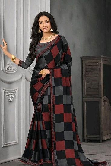 Wondrous Block Printed Chiffon Saree - Black & Brown
