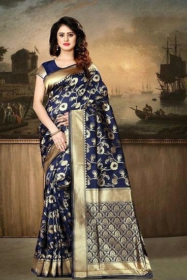 Wondrous Banarasi Silk Printed Saree - Blue