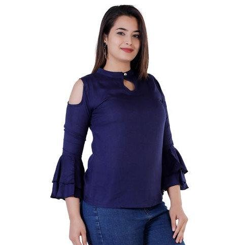 Exquisite Solid Designer Rayon Top - Blue