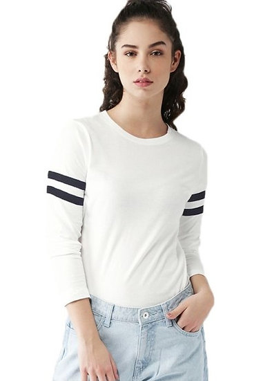 Dazzling Solid Side Striped Cotton Tshirt - White Black