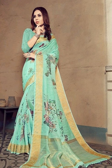 Flamboyant Multicolor Print Linen Saree - Green