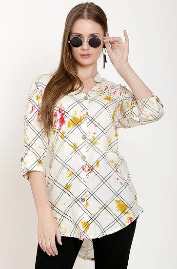 GALAXY TRENDZ Premium Designer Printed Long Top Cum Shirt - Off White/Light Bei