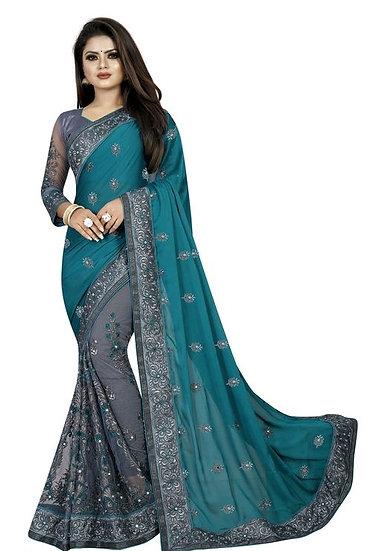 Gracious Georgette Saree With Bangalori Silk Blouse - Green