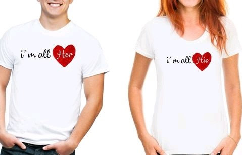"""Comely Couple Tshirts """"I'm All Him/her"""" - White"""