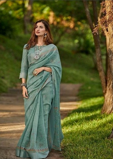 Beauteous Premium Printed Linen Saree - Green