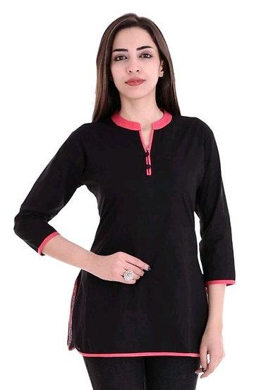 Wondrous Solid Cotton Top - Black & Pink