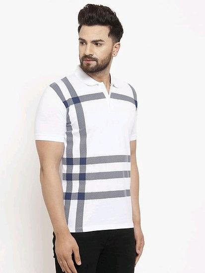 Dazzling Men's Collar Tshirts - White