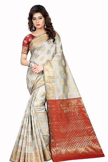 Exquisite Printed & Zari Work Banarasi Silk Saree - L Grey
