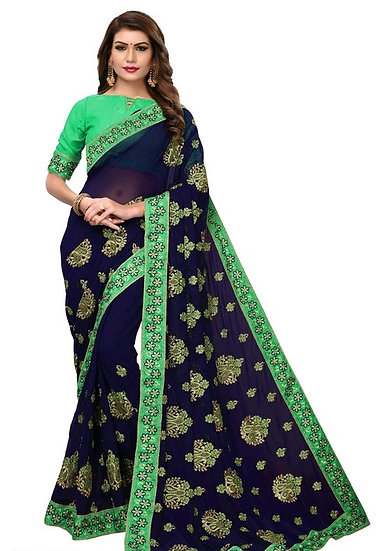 Comely Embroidered Georgette Saree - Blue & Green