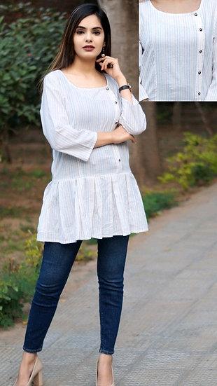 Gracious Khadi Cotton Woven Design Top - White