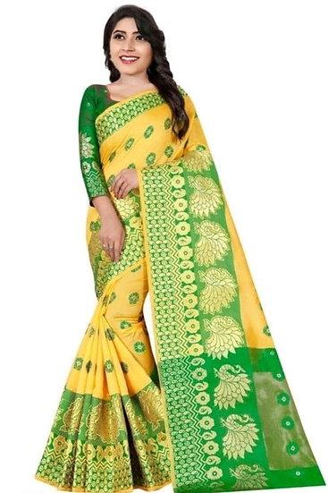 Sumptuous Banarasi Cotton Silk Printed Saree - Yellow