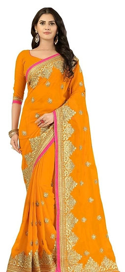 Beauteous Premium Embroidered Georgette Saree - Yellow
