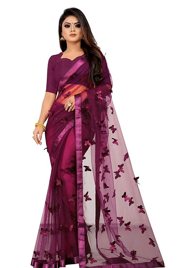 Wondroous Soft Net Saree With Butterfly Concept - Wine