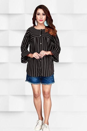 Gracious Stripes Print Crepe Top - Black