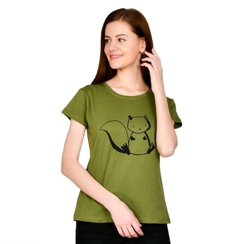 Comely Printed  Cotton Top - Green