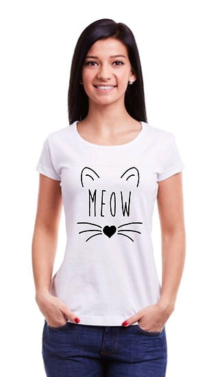 Flamboyant Solid Printed Cotton T-shirt - Meow