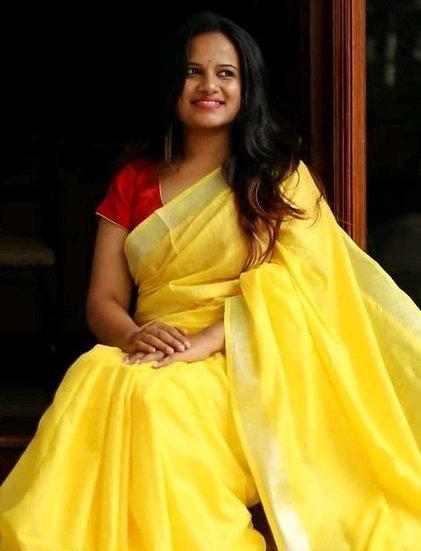 Ravishing Cotton Slub Formal Sarees - Yellow