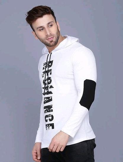Flamboyant Men's Tshirt With Hood - White