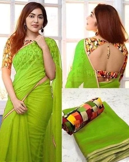 Wondrous Georgette Saree With Bangalori Silk Blouse - Green